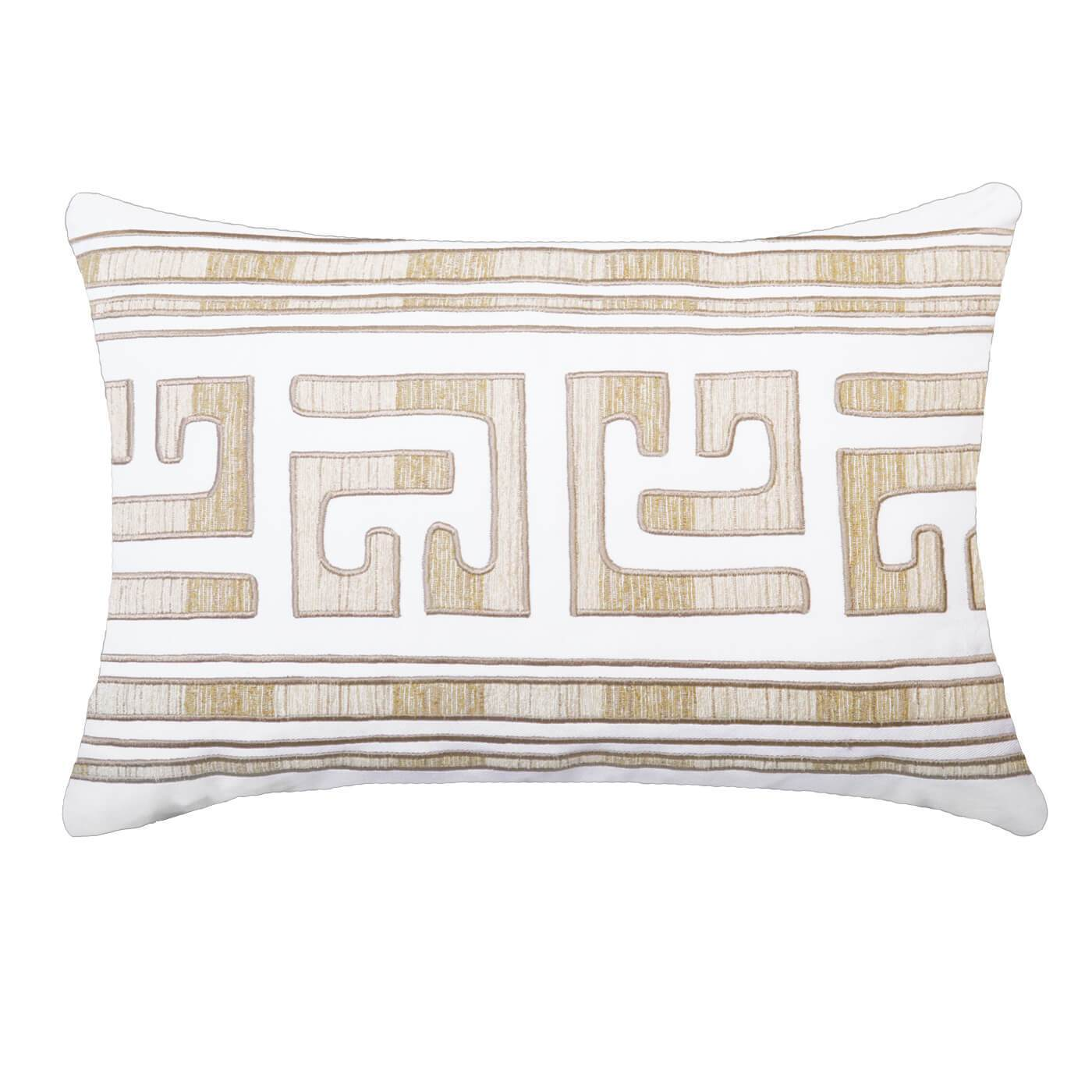 "Bandhini Homewear Design Lumber Cushion White / Exotic Dark / 14"" x 21"" Shoowa Kuba White Lumber Cushion 35 x 53 cm"