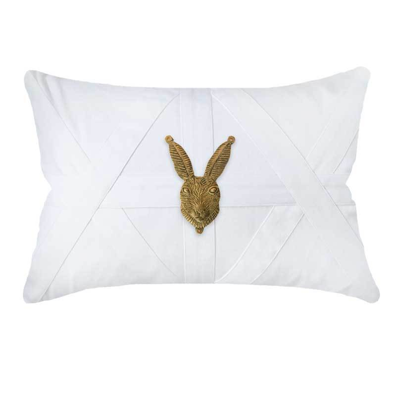 Bandhini Homewear Design Lumber Cushion White / 53 x 35 cm Metal Rabbit Head White Lumber Cushion 35 x 53 cm