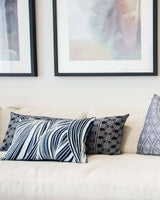 "Bandhini Homewear Design Lumber Cushion Wind  - Feather Insert / 14"" x 21"" Rake Wave Navy Lumber Cushion 35 x 53 cm"