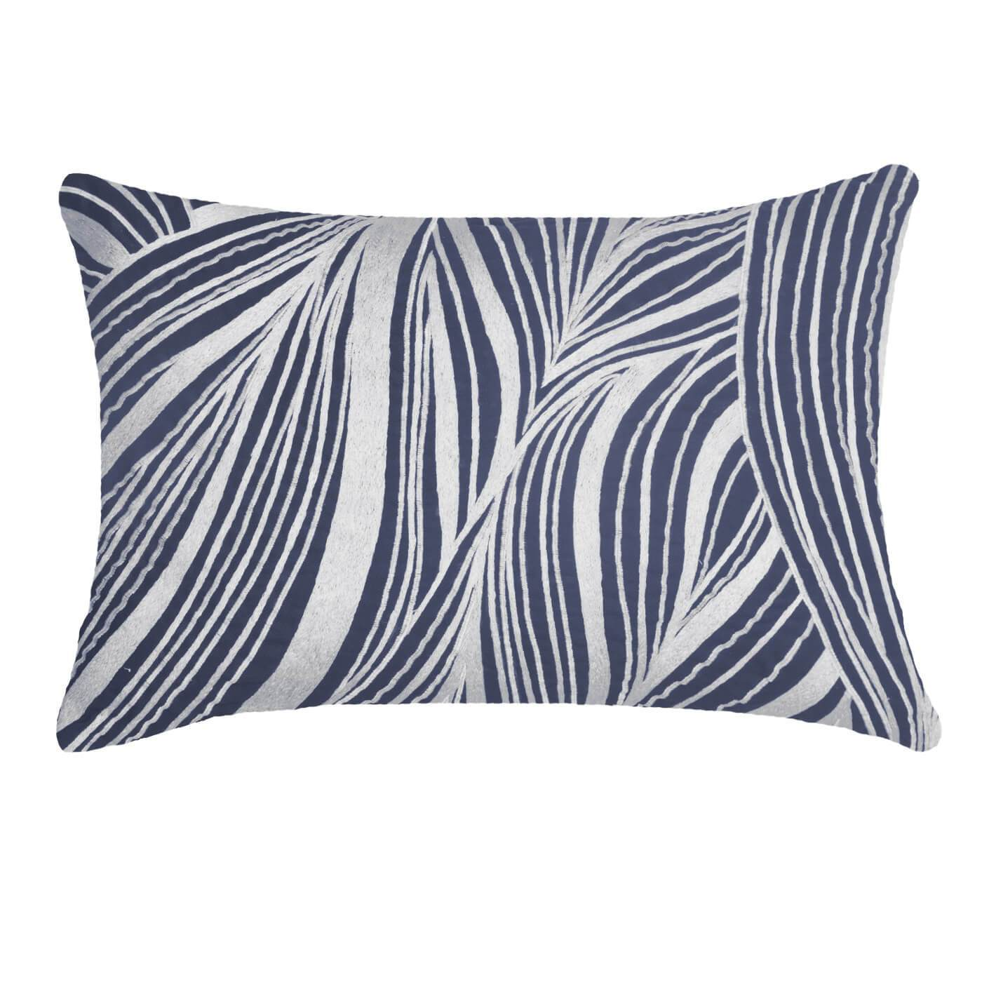 "Bandhini Homewear Design Lumber Cushion Wind  - Feather Insert / Exotic Dark / 14"" x 21"" Rake Wave Navy Lumber Cushion 35 x 53 cm"