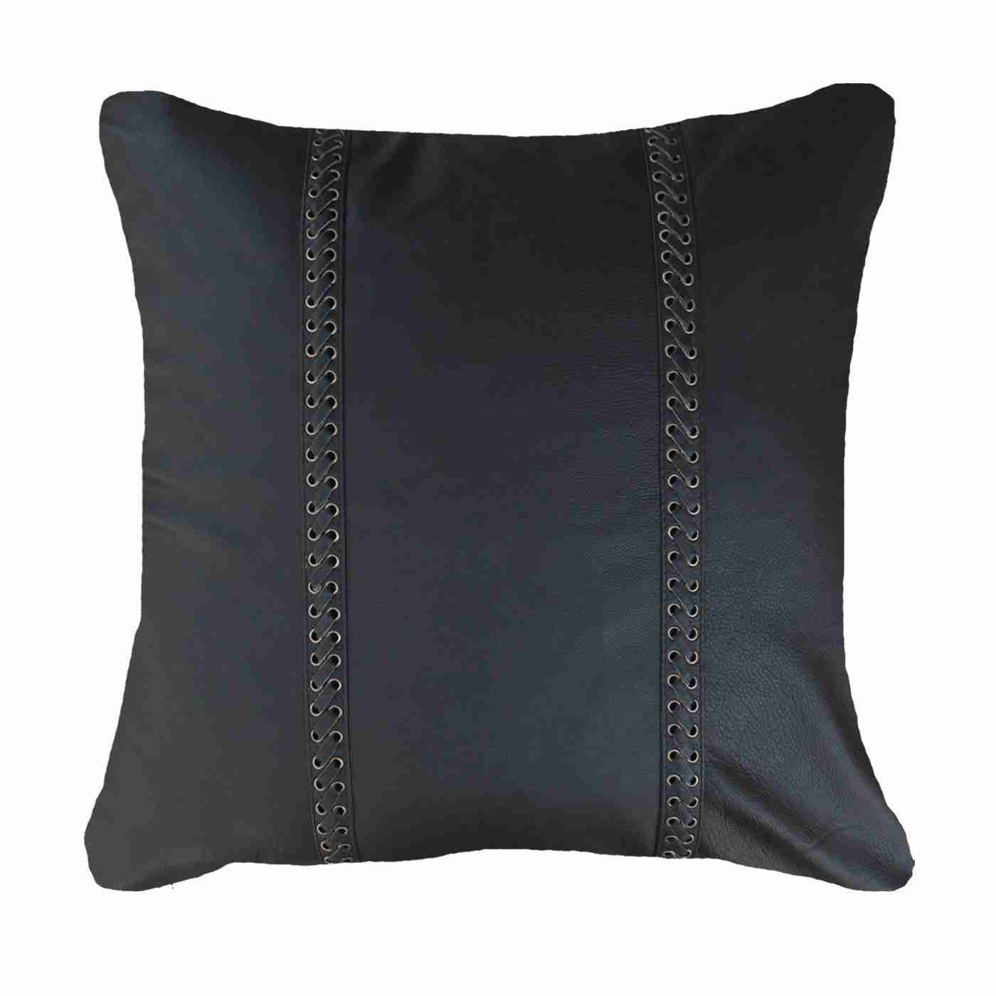 Bandhini Homewear Design Medium Cushion Black / 19 x 19 Leather Lace Black Medium Cushion 50 x 50 cm