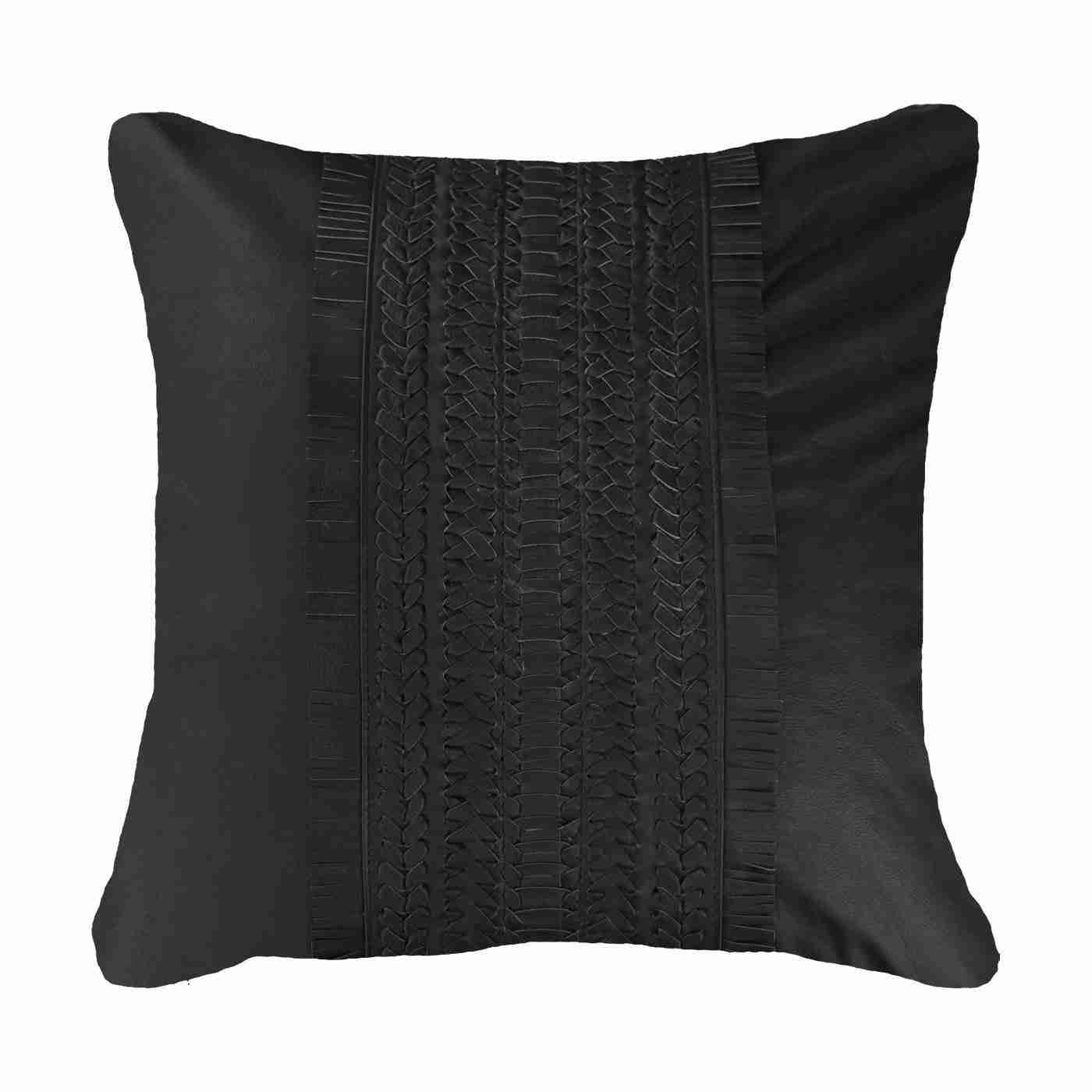 Bandhini Homewear Design Medium Cushion Black / 19 x 19 Leather Voyager Black Medium Cushion 50 x 50 cm