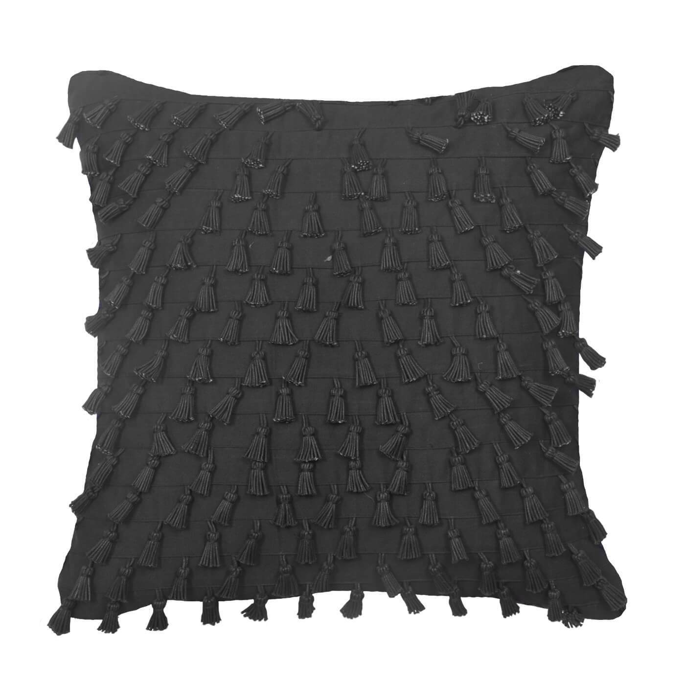 Bandhini Homewear Design Medium Cushion Black / Exotic Dark / 19 x 19 Tassel Mini Black Medium Cushion 50 x 50 cm