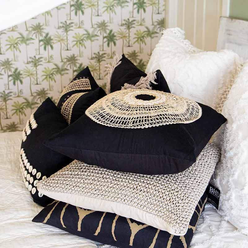 Bandhini Homewear Design Medium Cushion Black / 20 x 20 African Armour Black Medium Cushion 50 x 50 cm