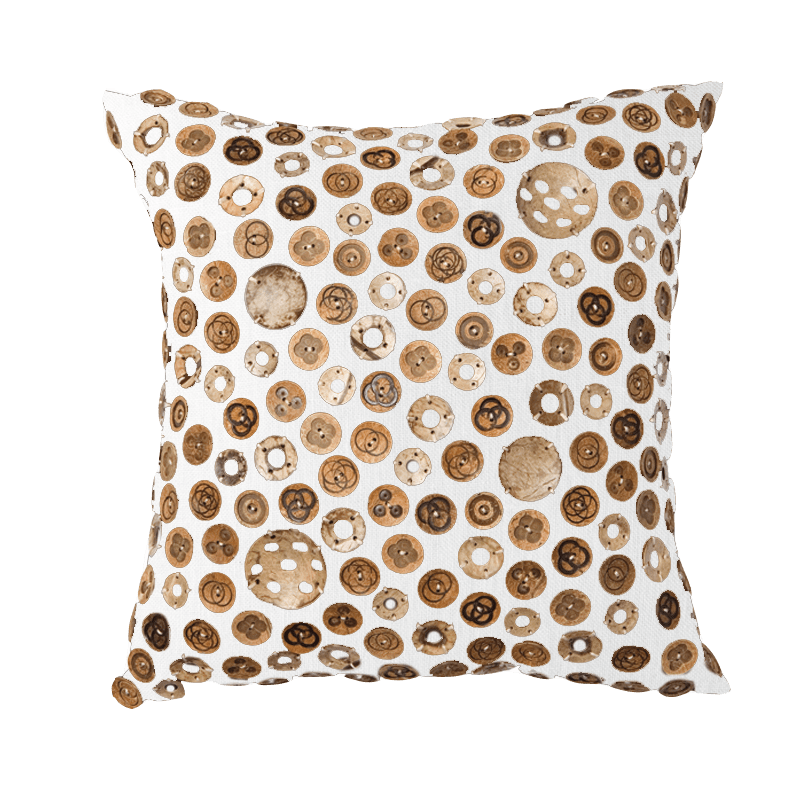Bandhini Homewear Design Medium Cushion Earth Beige / 20 x 20 Wood Coconut Buttons White Cushion 50 x 50 cm
