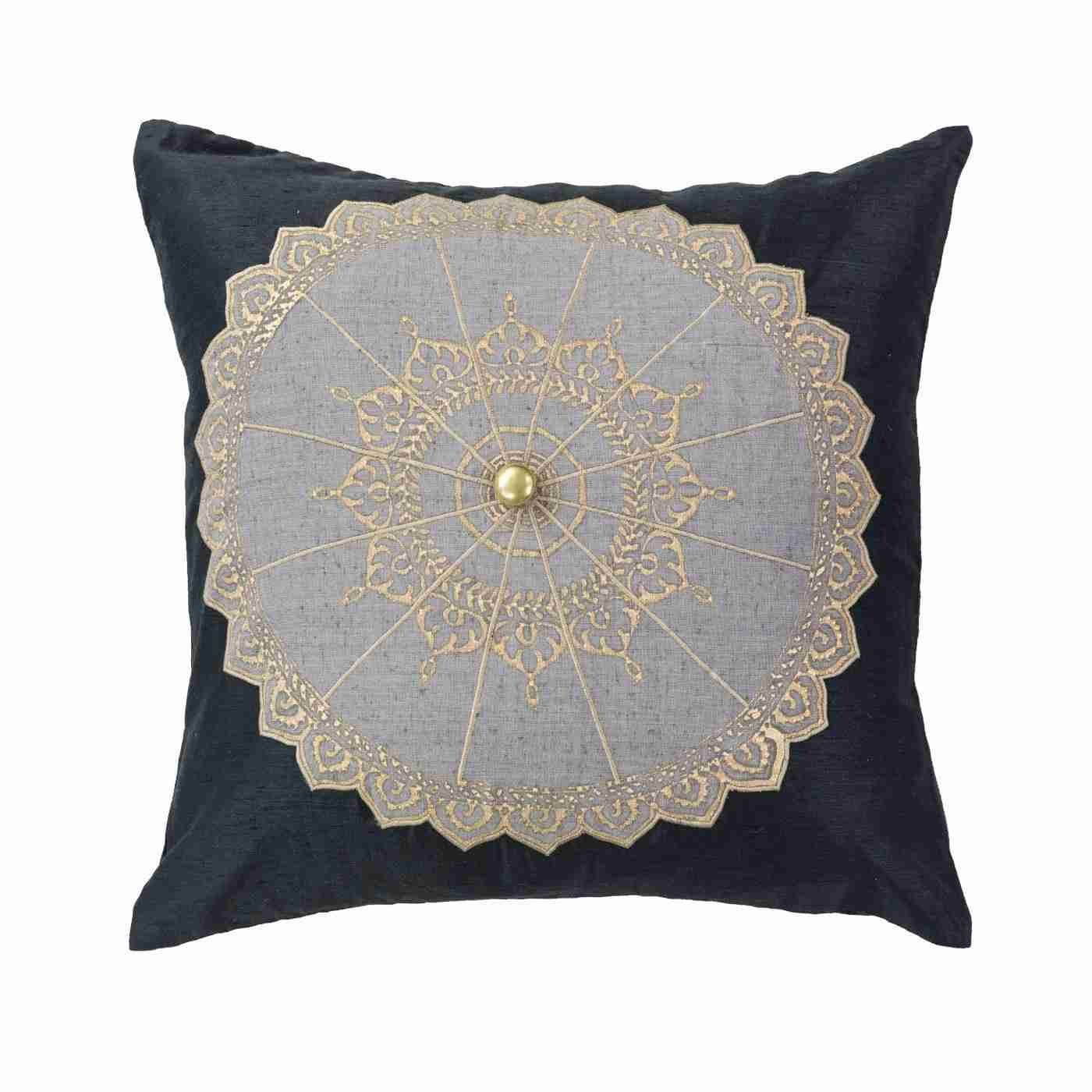 Bandhini Homewear Design Medium Cushion Earth Black / 18 x 18 Thai Umbrella Medium cushion 50 x 50 cm