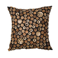 Bandhini Homewear Design Medium Cushion Earth Black / Primitive Tribe / 20 x 20 Wood Coconut Buttons Black Medium Cushion 50 x 50 cm