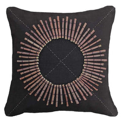 Bandhini Homewear Design Medium Cushion Earth Linen / 18 x 18 Wood Linen Sticks Black Medium Cushion 50 x 50cm