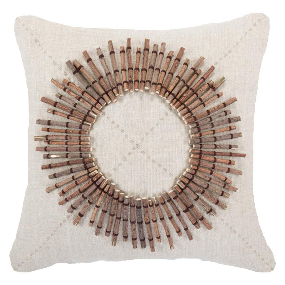 Bandhini Homewear Design Medium Cushion Earth Linen / 18 x 18 Wood Linen Sticks Medium Cushion 50 x 50 cm