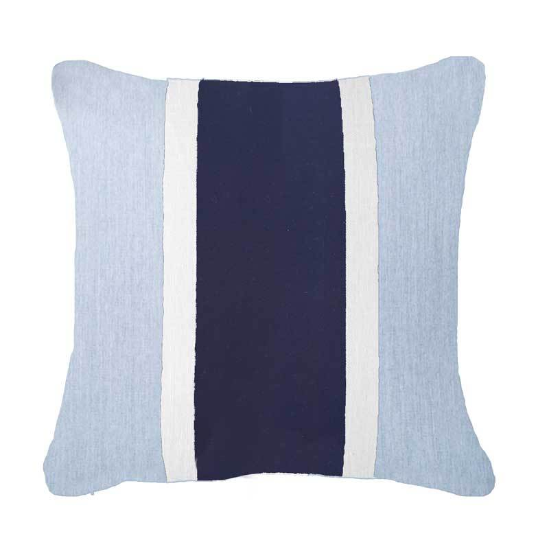 Bandhini Homewear Design Medium Cushion Natural / 19 x 19 Outdoor Raffia Navy & Cloud Medium Cushion 50 x 50cm