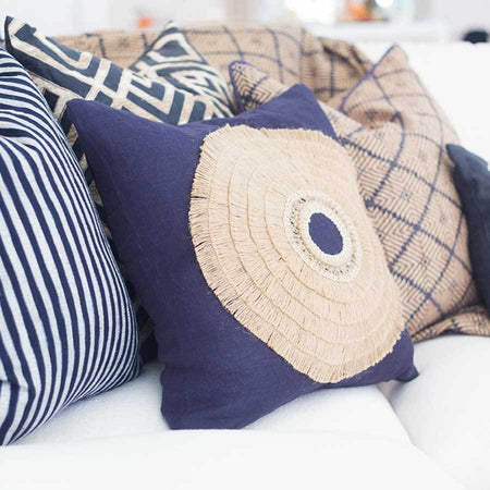 Bandhini Homewear Design Medium Cushion Navy / 20 x 20 African Shield Navy Medium Cushion 50x50cm