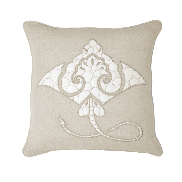 Bandhini Homewear Design Medium Cushion Navy / 20 x 20 Sea Manta Ray Natural Medium Cushion 50 x 50 cm