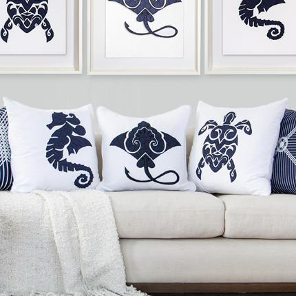 Bandhini Homewear Design Medium Cushion Navy / 20 x 20 Sea Manta Ray Navy Medium Cushion 50 x 50 cm