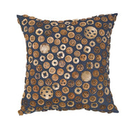Bandhini Homewear Design Medium Cushion Navy / Naval Sea / 20 x 20 Wood Coconut Buttons Navy Medium Cushion 50 x 50 cm