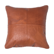 Bandhini Homewear Design Medium Cushion Tan / 20 x 20 Leather Cross Stitch Tan Lounge Cushion 55 x 55 cm