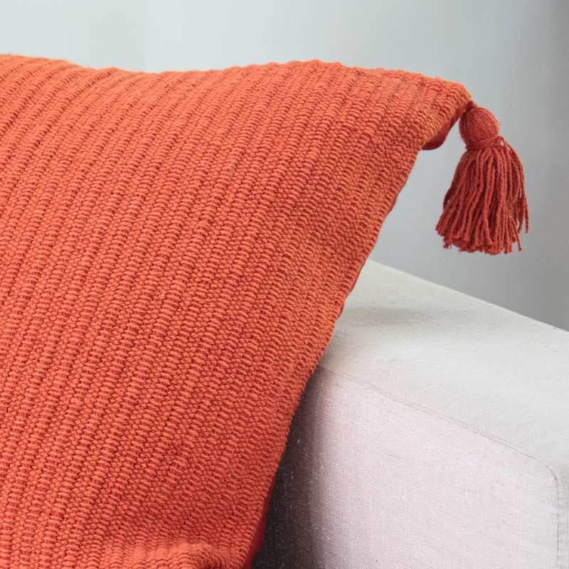 Bandhini Homewear Design Medium Rust / 20 x 20 Knit Tassel Rust Medium Cushion 50x50cm