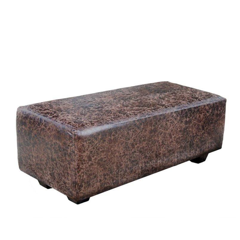 Bandhini Homewear Design Ottoman Natural / Zans Ottomans Ottoman Chaise Beaten Leatherette Chocolate