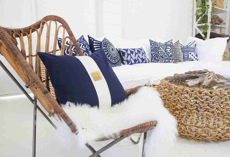 Bandhini Homewear Design Outdoor Blue / Outdoor / 22 x 22 Outdoor Butterfly Navy Lounge Cushion 55 x 55 cm