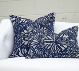 Bandhini Homewear Design Outdoor Blue / 22 x 22 Outdoor Butterfly Navy Lounge Cushion 55 x 55cm