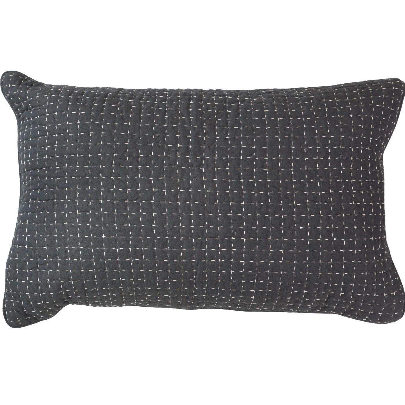 Bandhini Homewear Design Sham Cushion Earth Silver / Primitive Tribe / 18 x 27 Gudri Stitch Black Sham 46x69cm