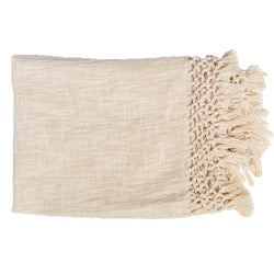 Bandhini Homewear Design Throw Cream / 130 x 170 cm Check Knot Cream Throw 130 x 170 cm