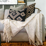 Bandhini Homewear Design Throw Cream / 150 x 180 cm Check Knot Cream Throw 150 x 180 cm