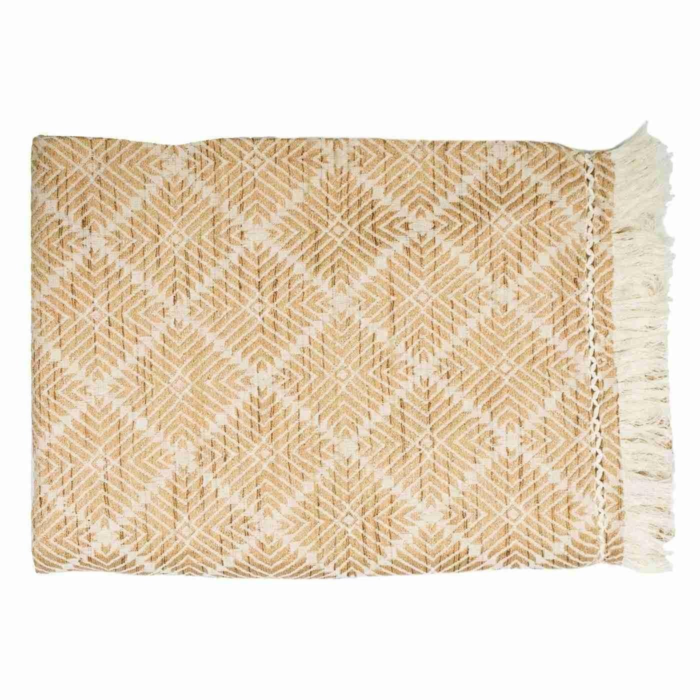 Bandhini Homewear Design Throw Earth Beige / Vintage Tribe / 46 x 72 Weave Phulkari Natural Throw 117 x 183 cm