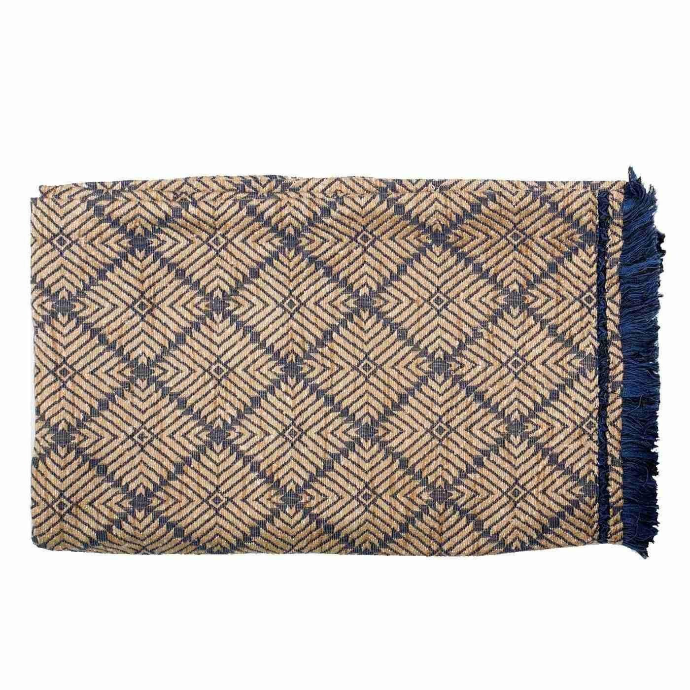 Bandhini Homewear Design Throw Navy  Beige / Naval Sea / 46 x 72 Weave Phulkari Navy Throw 117 x 183 cm