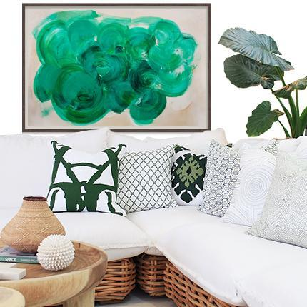 Bandhini Homewear Design Zoe Bios Creative No Leaf / 76cm x 115cm Green Agate
