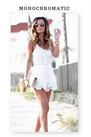 Monochromatic Romper with lace