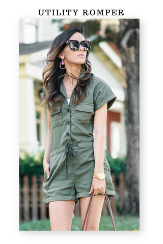 Utility, safari romper with pockets