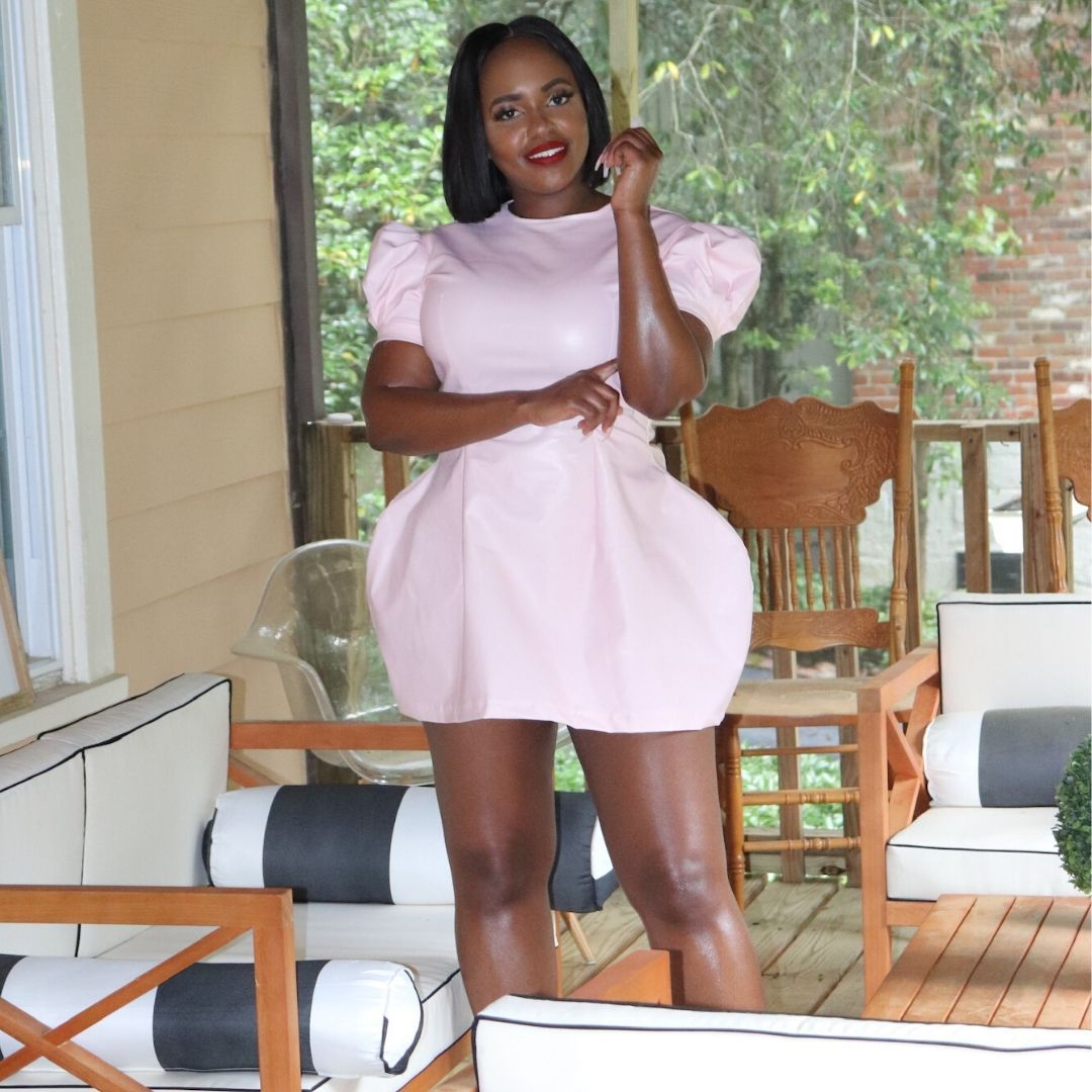Joyce Puff Sleeve Dress in Pink by Iman Akilah