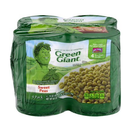 GREEN GIANT YOUNG TENDER SWEET PEAS 15 OZ , 4CT