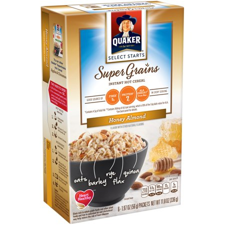 QUAKER SUPER GRAINS INSTANT OATMEAL HONEY ALMOND HOT CEREAL 11.8 OZ