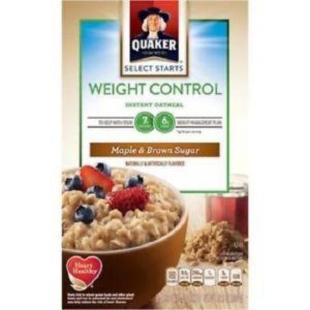 QUAKER INSTANT OATMEAL WEIGHT CONTROL (MAPLE & BROWN SUGAR) 12.01 OZ