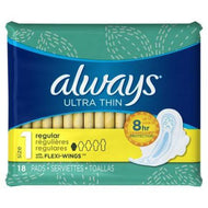 ALWAYS ULTRA THIN PADS REGULAR FLEXI-WINGS 18 COUNT