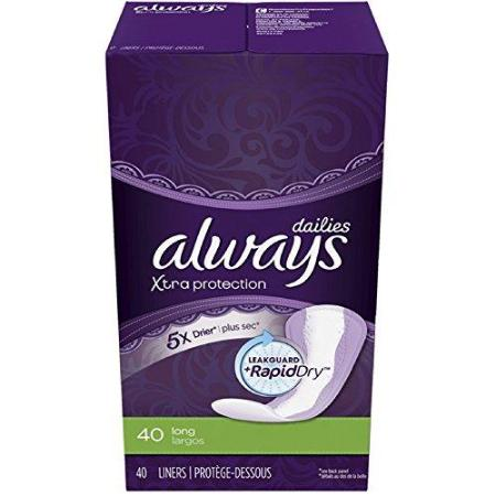 ALWAYS DRI-LINERS LONG UNWRAPPED UNSCENTED 40 COUNT