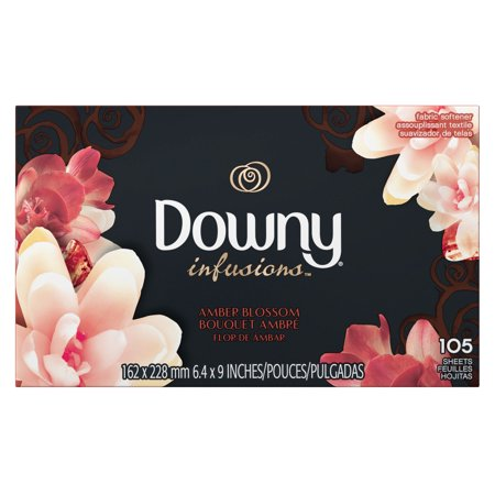 DOWNY INFUSIONS AMBER BLOSSOM FABRIC SOFTENER DRYER SHEETS 105 CT