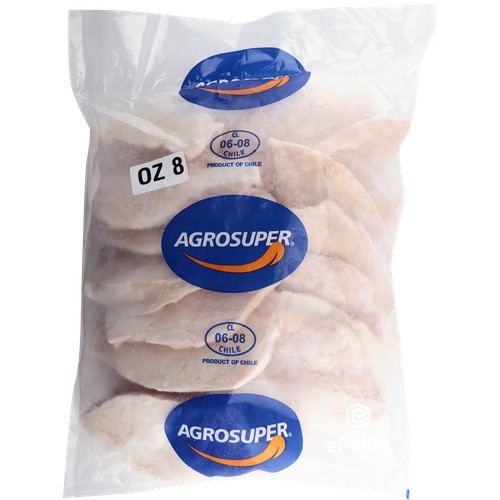 AGROSUPER 8OZ SIZED BONELESS SKINLESS CHICKEN BREAST #10LB