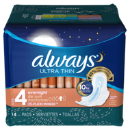 ALWAYS OVERNIGHT ULTRA THIN WITH WINGS 14 CT