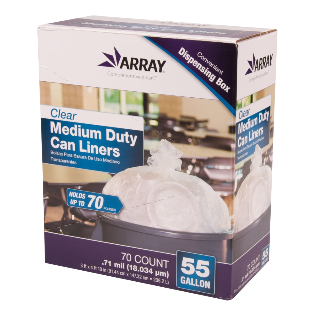 Array 55 Gallon Clear Can Liners, Medium-Duty, 0.71 Mil, 70 Ct Roll