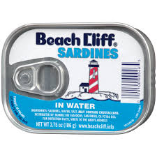 BEACH CLIFF SARDINES IN WATER 3.75 OZ