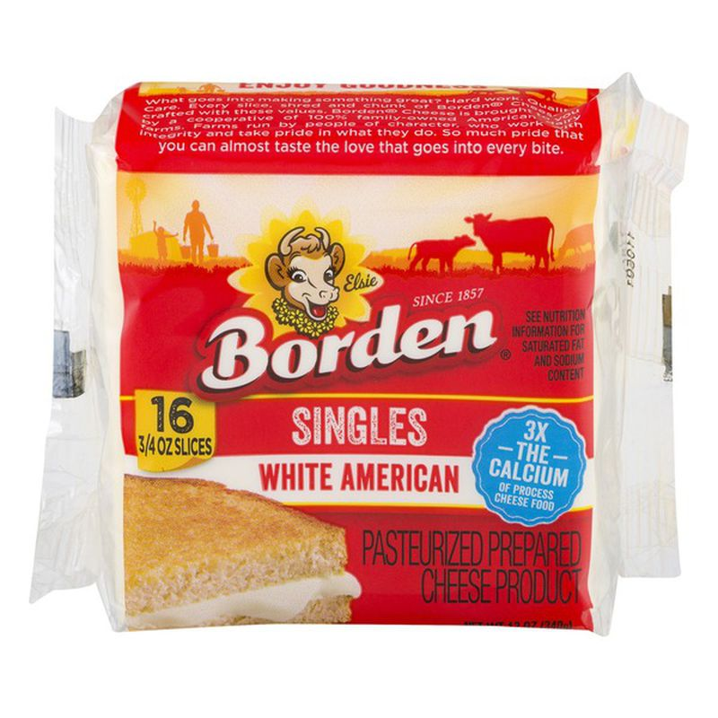 BORDEN SINGLES WHITE AMERICAN 12 oz