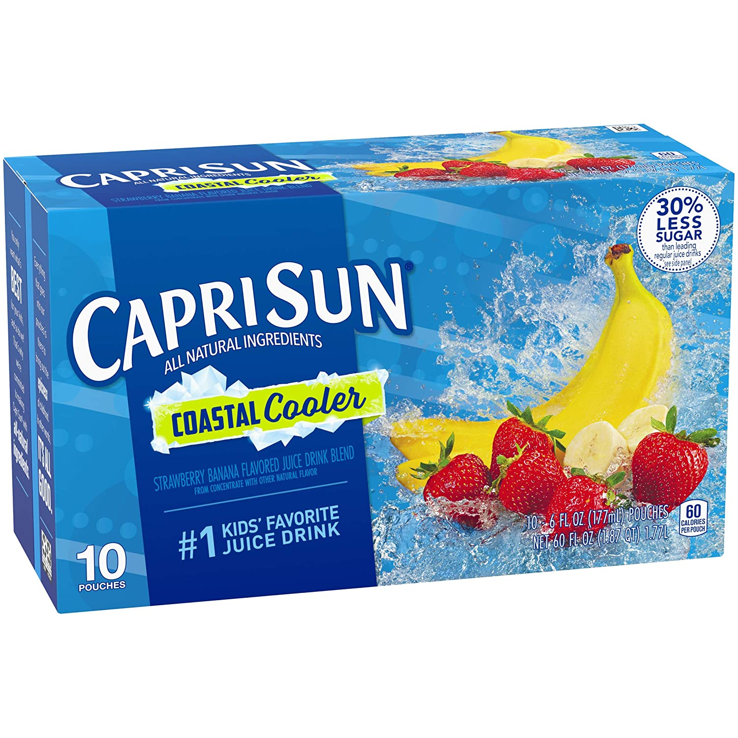CAPRISUN COASTAL COOLER STRAWBERRY BANANA FLAVORED JUICE DRINK BLEND 10 CT