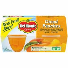 DEL MONTE FRUIT TO GO DICED PEACHES IN LIGHT SYRUP 4PK 4OZ 6CT***SHIP TO ORDER BY NOON ON MONDAY'S ARRIVING THE FOLLOWING MONDAY FOR DELIVERY***