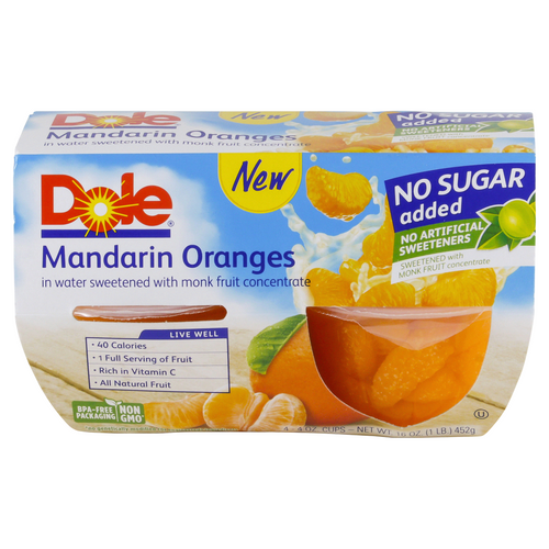 DOLE MANDARIN FRUIT BOWL 4 OZ 4 COUNT