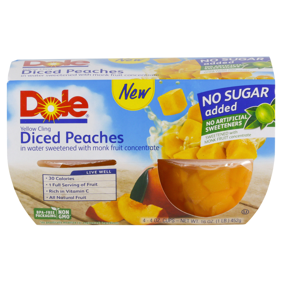 DOLE DICED PEACHES FRUIT BOWLS 4 OZ