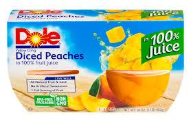 DOLE FRUIT BOWLS DICED PEACHES 4PK 4OZ 16CT***SHIP TO ORDER BY NOON ON MONDAY'S ARRIVING THE FOLLOWING MONDAY FOR DELIVERY***