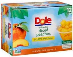 DOLE FRUIT BOWL DICED PEACHES 4OZ 12CT***SHIP TO ORDER BY NOON ON MONDAY'S ARRIVING THE FOLLOWING MONDAY FOR DELIVERY***