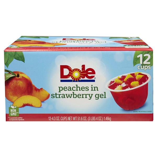 DOLE PEACHES IN STRAWBERRY GEL 4.3 OZ 12C***SHIP TO ORDER BY NOON ON MONDAY'S ARRIVING THE FOLLOWING MONDAY FOR DELIVERY***
